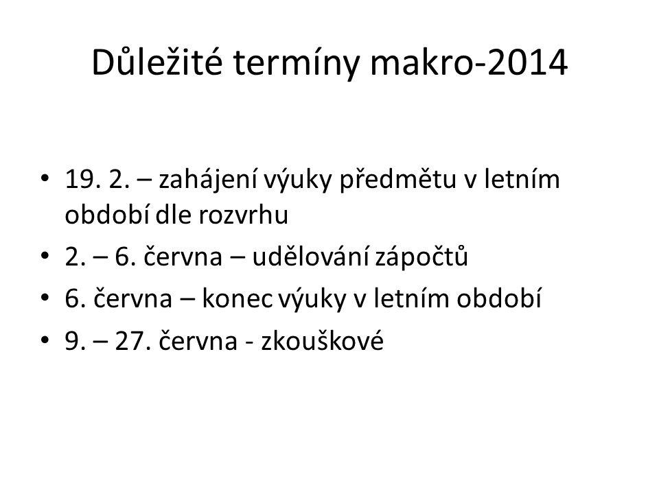 Důležité termíny makro-2014 19. 2. – zahájení výuky předmětu v letním období dle rozvrhu 2.