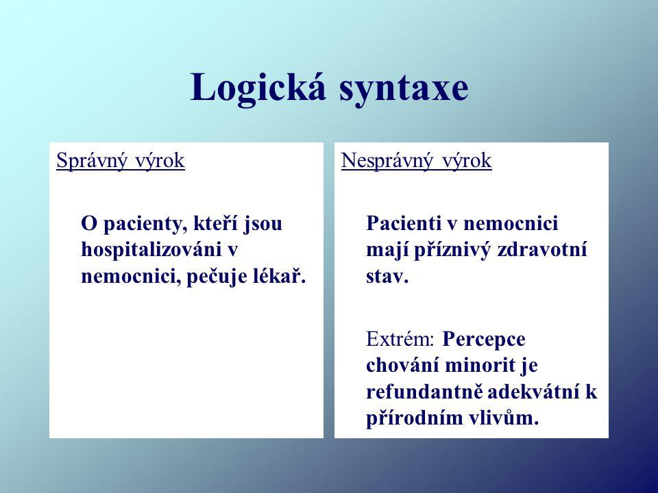 Logická syntaxe Správný výrok O pacienty, kteří jsou hospitalizováni v nemocnici, pečuje lékař. Nesprávný výrok Pacienti v nemocnici mají příznivý zdr