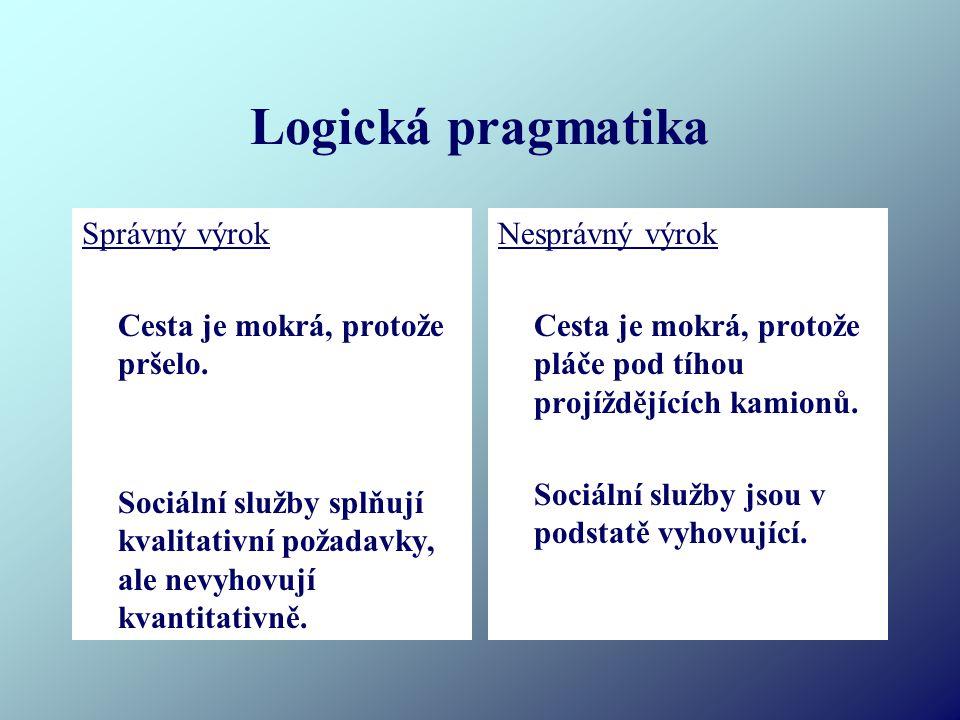 Logická pragmatika Správný výrok Cesta je mokrá, protože pršelo.