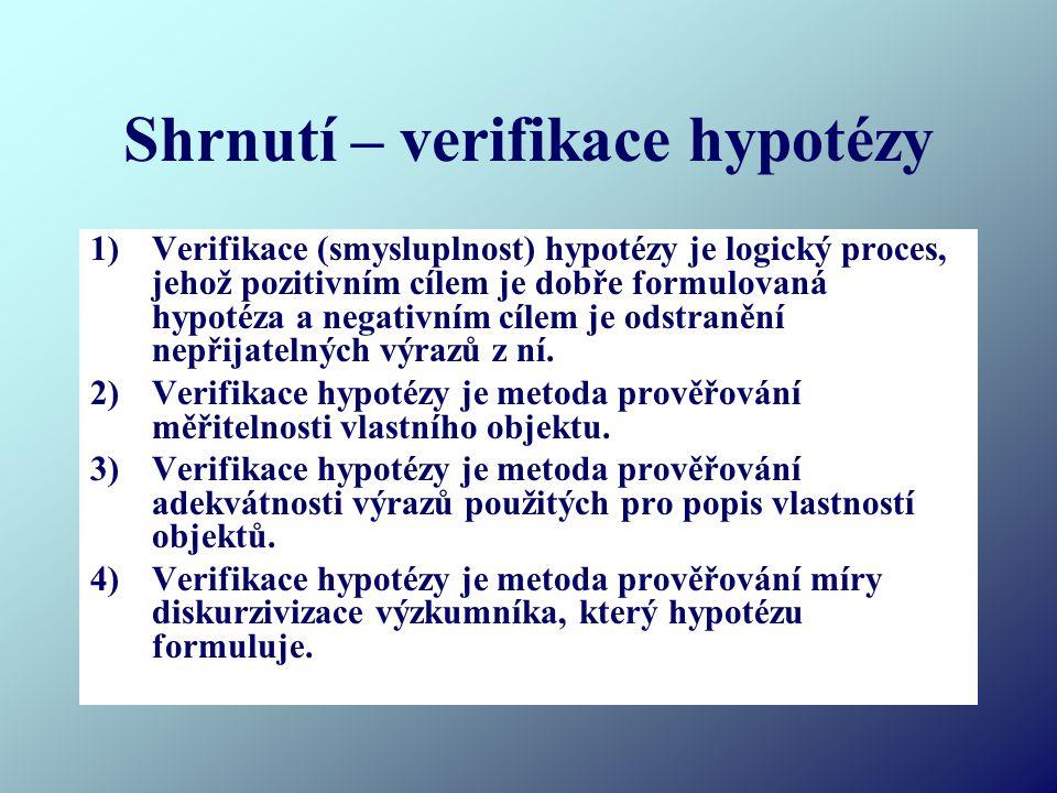Shrnutí – verifikace hypotézy 1)Verifikace (smysluplnost) hypotézy je logický proces, jehož pozitivním cílem je dobře formulovaná hypotéza a negativním cílem je odstranění nepřijatelných výrazů z ní.