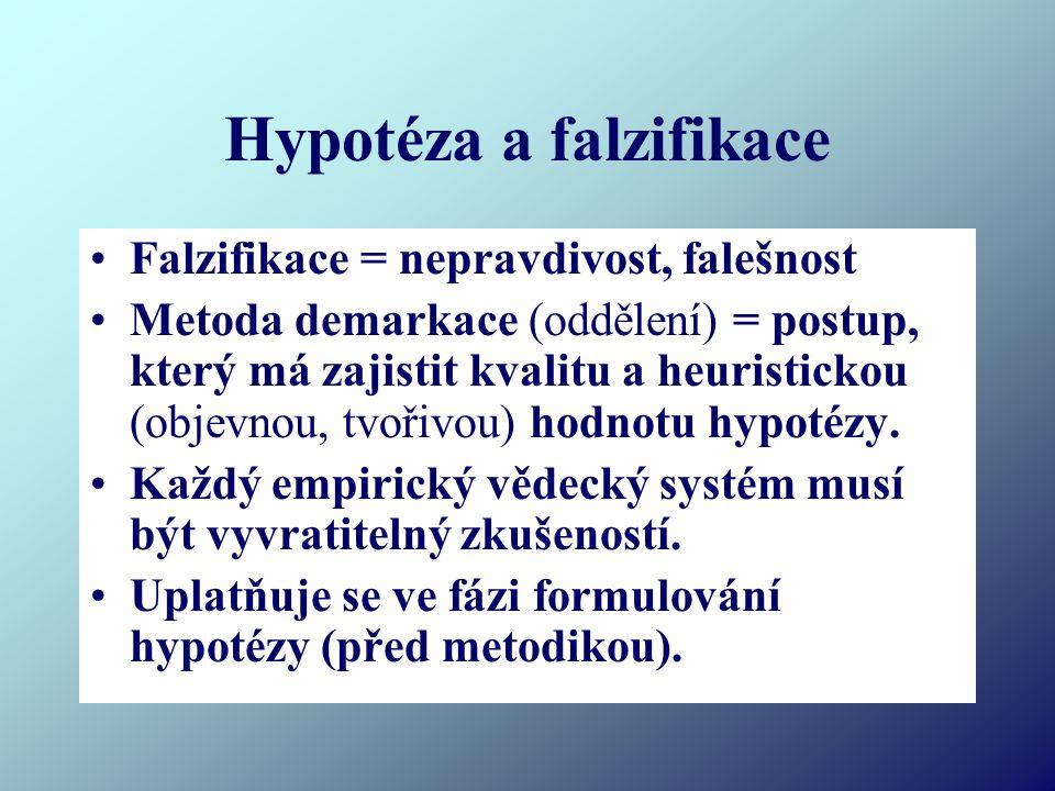 Hypotéza a falzifikace Falzifikace = nepravdivost, falešnost Metoda demarkace (oddělení) = postup, který má zajistit kvalitu a heuristickou (objevnou, tvořivou) hodnotu hypotézy.