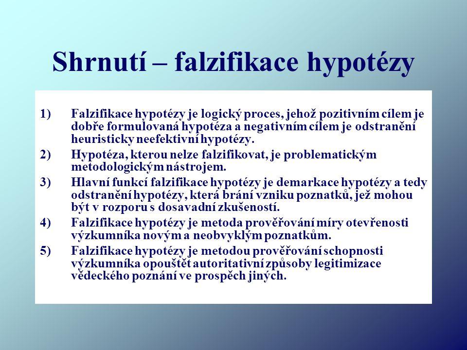 Shrnutí – falzifikace hypotézy 1)Falzifikace hypotézy je logický proces, jehož pozitivním cílem je dobře formulovaná hypotéza a negativním cílem je odstranění heuristicky neefektivní hypotézy.
