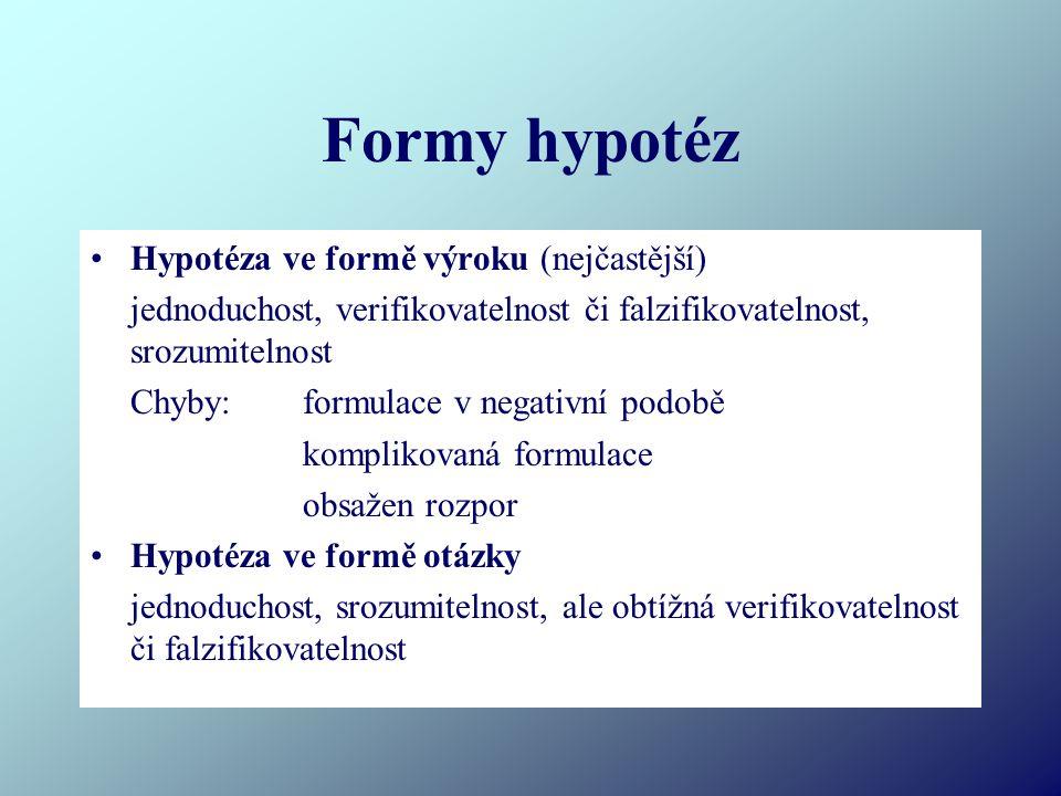 Formy hypotéz Hypotéza ve formě výroku (nejčastější) jednoduchost, verifikovatelnost či falzifikovatelnost, srozumitelnost Chyby:formulace v negativní podobě komplikovaná formulace obsažen rozpor Hypotéza ve formě otázky jednoduchost, srozumitelnost, ale obtížná verifikovatelnost či falzifikovatelnost