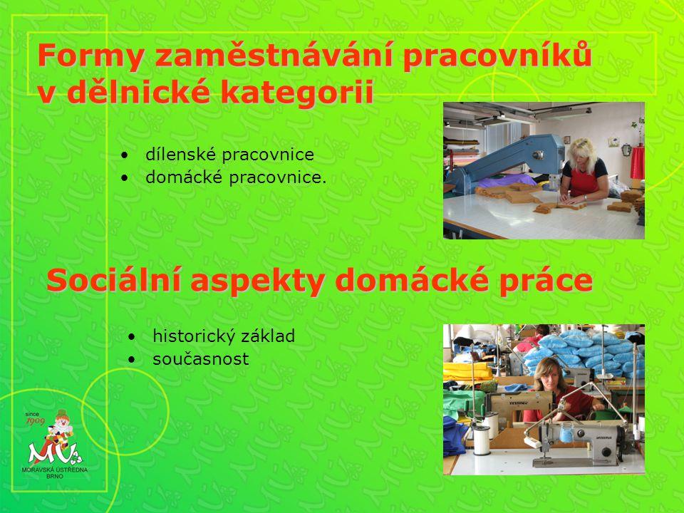 Formy zaměstnávání pracovníků v dělnické kategorii dílenské pracovnice domácké pracovnice.