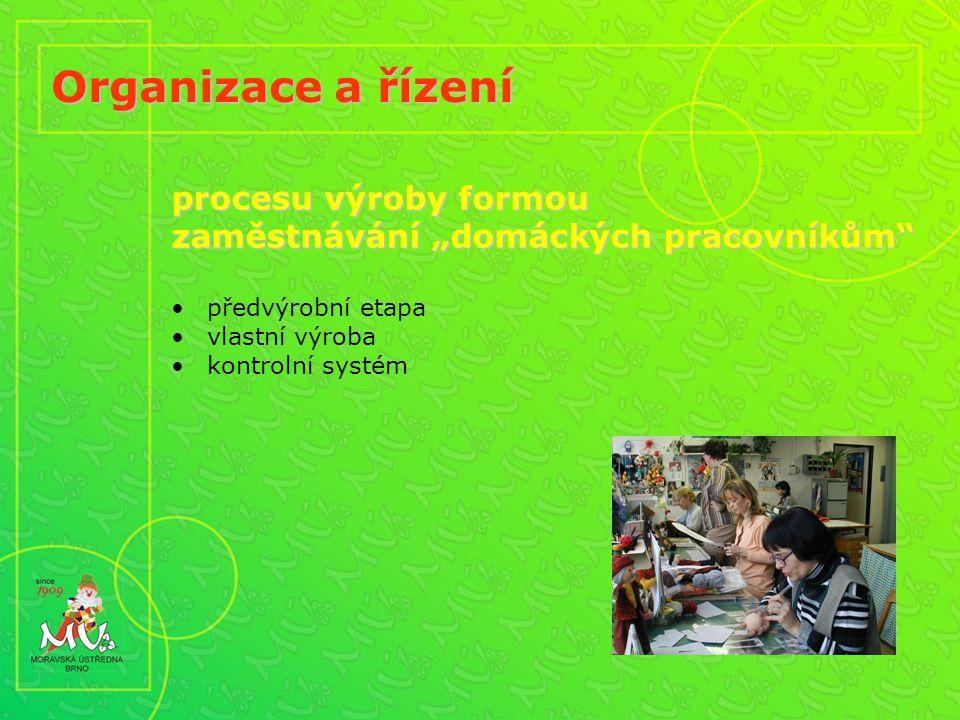 """Organizace a řízení procesu výroby formou zaměstnávání """"domáckých pracovníkům předvýrobní etapa vlastní výroba kontrolní systém"""