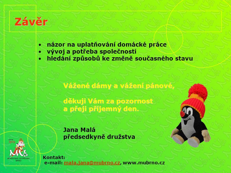názor na uplatňování domácké práce vývoj a potřeba společnosti hledání způsobů ke změně současného stavu Závěr Kontakt: e-mail: mala.jana@mubrno.cz, www.mubrno.czmala.jana@mubrno.cz Vážené dámy a vážení pánové, děkuji Vám za pozornost a přeji příjemný den.