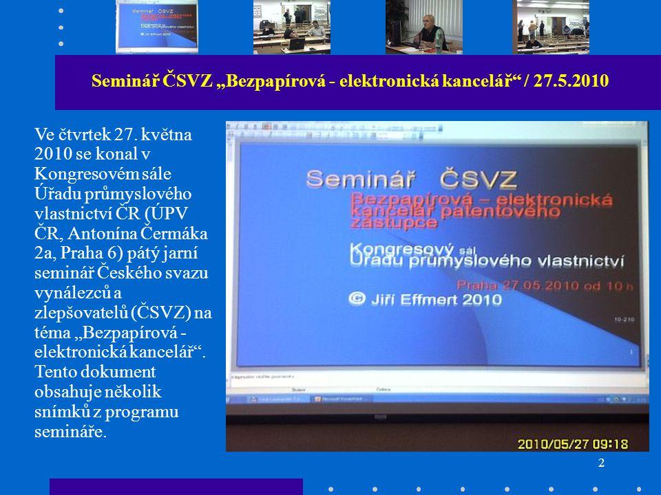 """Ing. František Knížek uvádí dokument Seminář ČSVZ """"Bezpapírová - elektronická kancelář 27.5.2010"""
