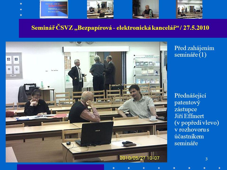 """3 Seminář ČSVZ """"Bezpapírová - elektronická kancelář / 27.5.2010 Před zahájením semináře (1) Přednášející patentový zástupce Jiří Effmert (v popředí vlevo) v rozhovoru s účastníkem semináře"""