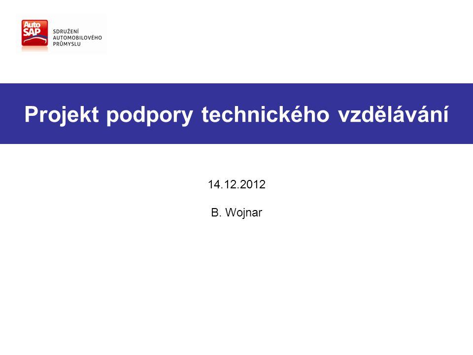 Projekt podpory technického vzdělávání 14.12.2012 B. Wojnar