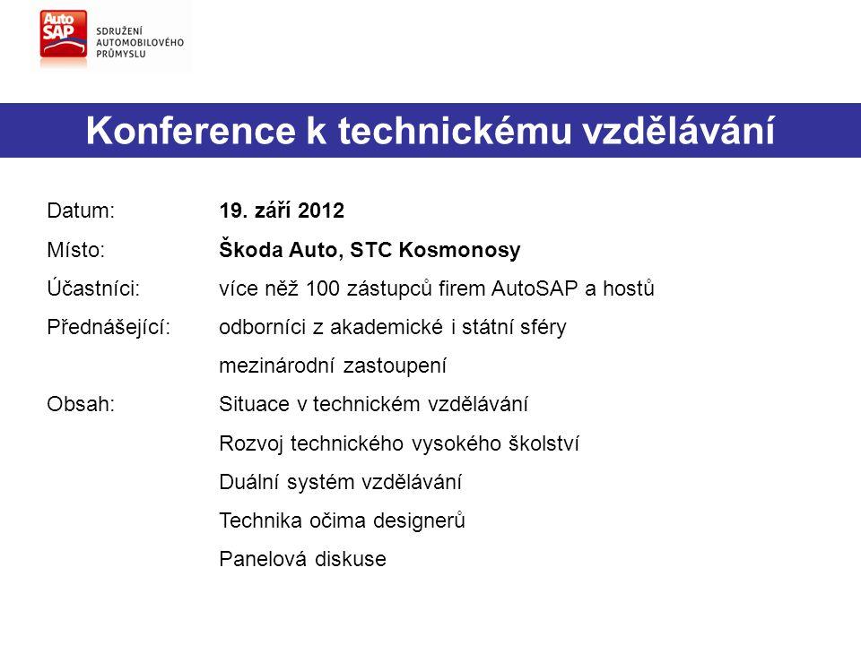 Konference k technickému vzdělávání Datum:19. září 2012 Místo:Škoda Auto, STC Kosmonosy Účastníci:více něž 100 zástupců firem AutoSAP a hostů Přednáše