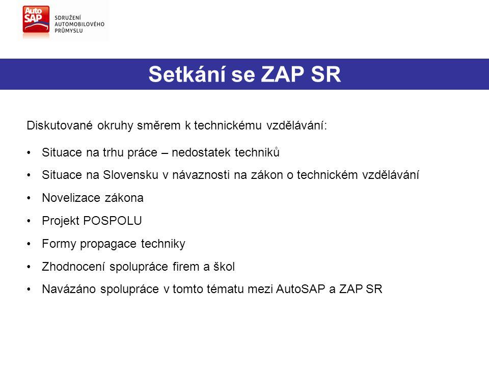 Setkání se ZAP SR Diskutované okruhy směrem k technickému vzdělávání: Situace na trhu práce – nedostatek techniků Situace na Slovensku v návaznosti na