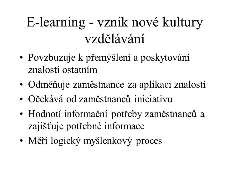E-learning - vznik nové kultury vzdělávání Povzbuzuje k přemýšlení a poskytování znalostí ostatním Odměňuje zaměstnance za aplikaci znalostí Očekává od zaměstnanců iniciativu Hodnotí informační potřeby zaměstnanců a zajišťuje potřebné informace Měří logický myšlenkový proces
