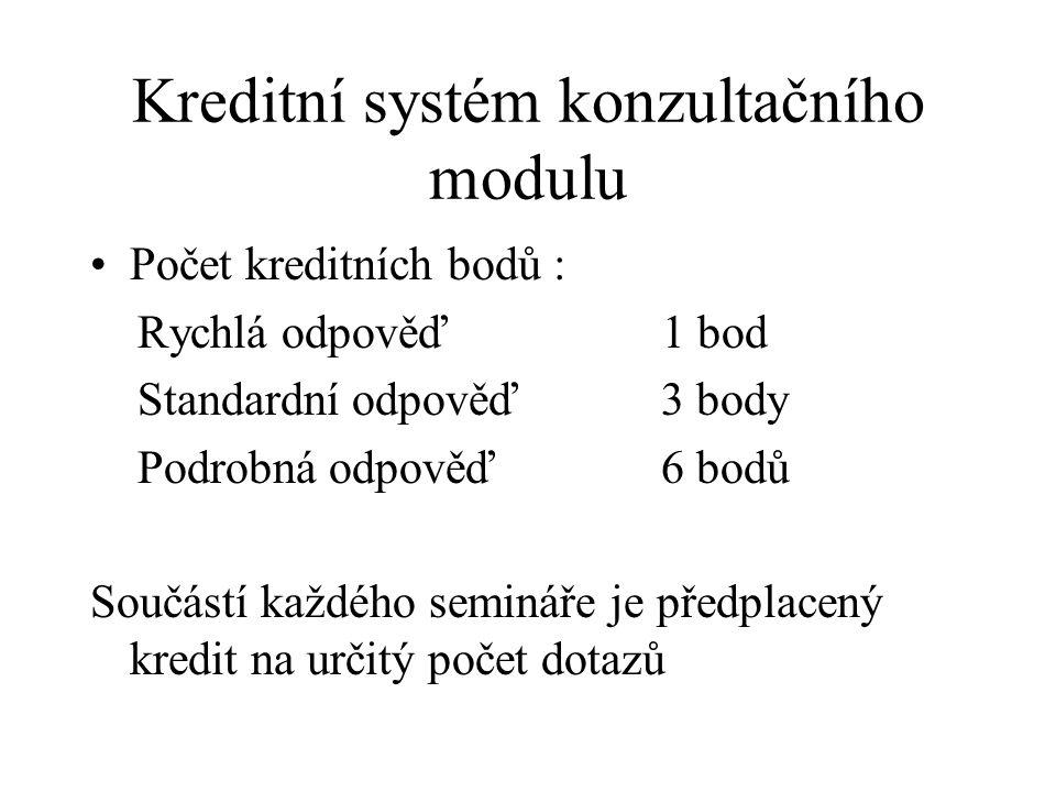 Kreditní systém konzultačního modulu Počet kreditních bodů : Rychlá odpověď 1 bod Standardní odpověď 3 body Podrobná odpověď 6 bodů Součástí každého semináře je předplacený kredit na určitý počet dotazů