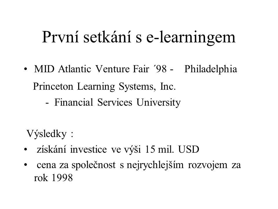 První setkání s e-learningem MID Atlantic Venture Fair ´98 - Philadelphia Princeton Learning Systems, Inc.
