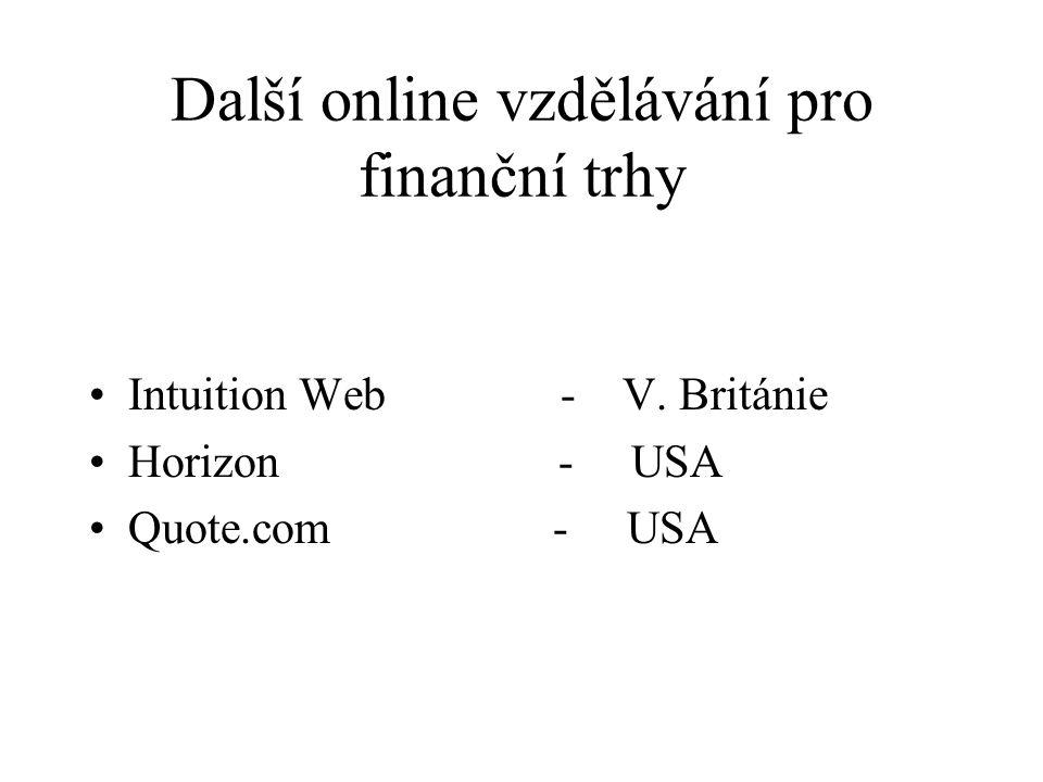 Další online vzdělávání pro finanční trhy Intuition Web - V. Británie Horizon - USA Quote.com - USA