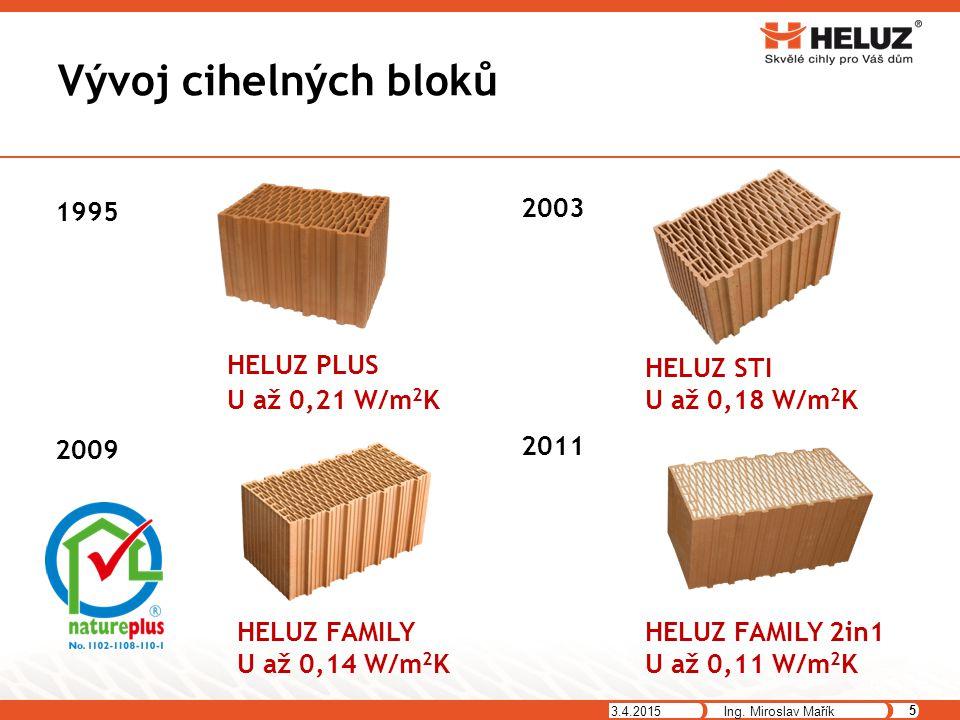 Vývoj cihelných bloků 3.4.2015 5 Ing. Miroslav Mařík 1995 HELUZ PLUS U až 0,21 W/m 2 K 2003 HELUZ STI U až 0,18 W/m 2 K 2009 HELUZ FAMILY U až 0,14 W/