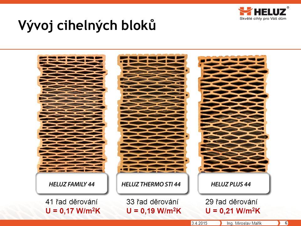 Vývoj cihelných bloků 3.4.2015 6 Ing. Miroslav Mařík 41 řad děrování U = 0,17 W/m 2 K 33 řad děrování U = 0,19 W/m 2 K 29 řad děrování U = 0,21 W/m 2