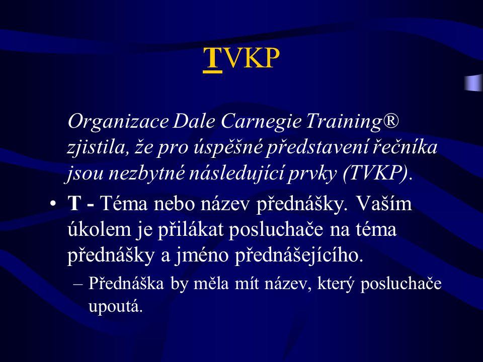 TVKP Organizace Dale Carnegie Training® zjistila, že pro úspěšné představení řečníka jsou nezbytné následující prvky (TVKP).