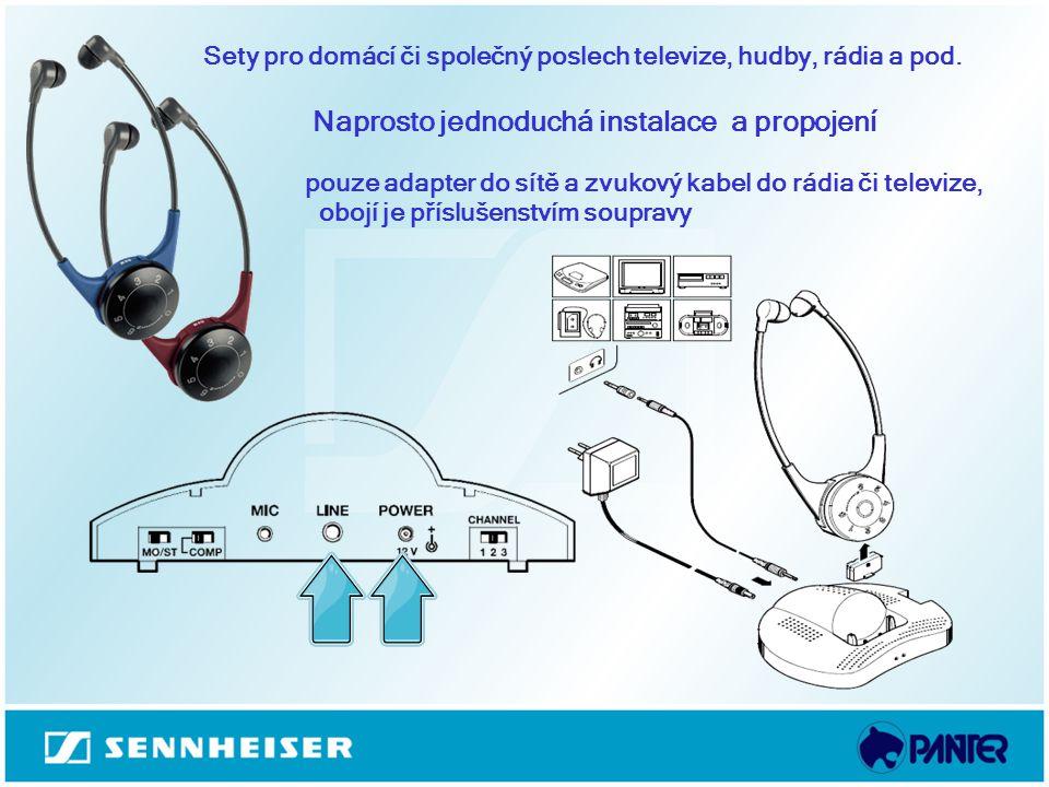 Sety pro domácí či společný poslech televize, hudby, rádia a pod. Naprosto jednoduchá instalace a propojení pouze adapter do sítě a zvukový kabel do r