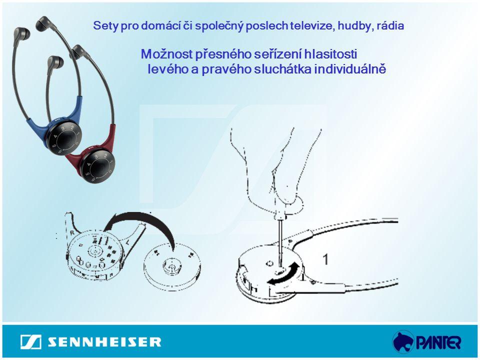 Sety pro domácí či společný poslech televize, hudby, rádia Možnost přesného seřízení hlasitosti levého a pravého sluchátka individuálně