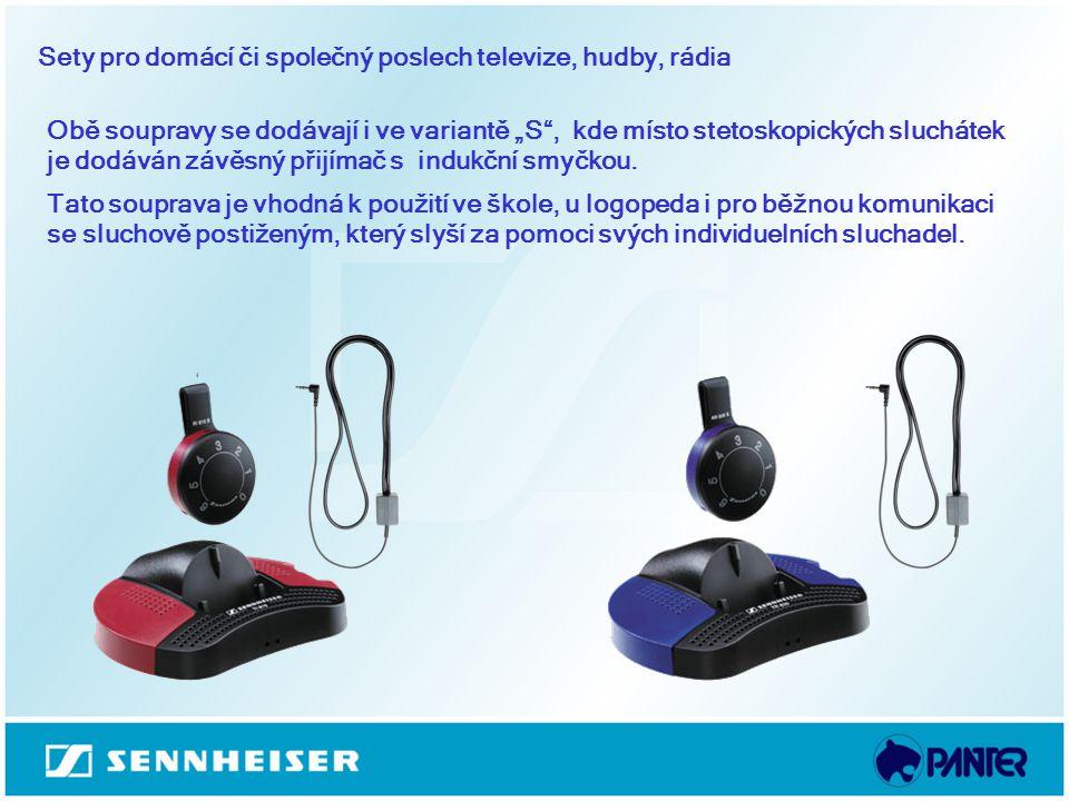 """Sety pro domácí či společný poslech televize, hudby, rádia Obě soupravy se dodávají i ve variantě """"S"""", kde místo stetoskopických sluchátek je dodáván"""
