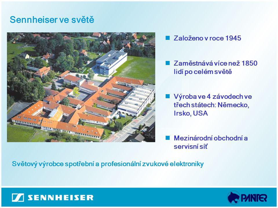 Sennheiser ve světě Založeno v roce 1945 Zaměstnává více než 1850 lidí po celém světě Výroba ve 4 závodech ve třech státech: Německo, Irsko, USA Mezin