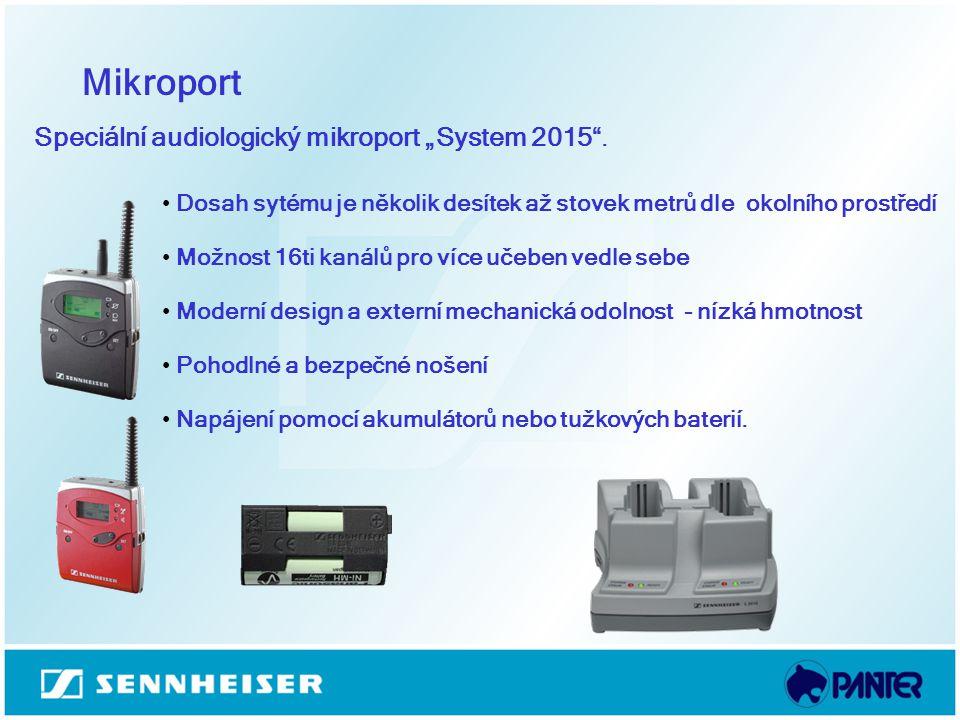 """Mikroport Speciální audiologický mikroport """"System 2015"""". Dosah sytému je několik desítek až stovek metrů dle okolního prostředí Možnost 16ti kanálů p"""