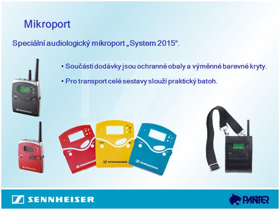 Mikroport Součástí dodávky jsou ochranné obaly a výměnné barevné kryty. Pro transport celé sestavy slouží praktický batoh. Speciální audiologický mikr