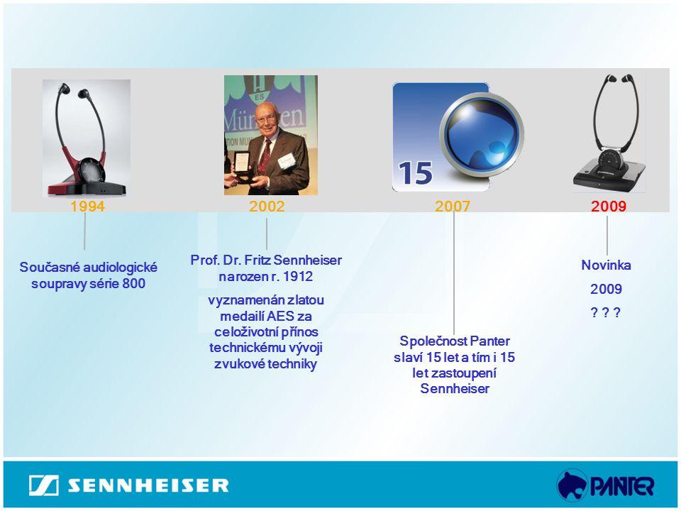 Současné audiologické soupravy série 800 Novinka 2009 ? ? ? 2007 199420092002 Prof. Dr. Fritz Sennheiser narozen r. 1912 vyznamenán zlatou medailí AES