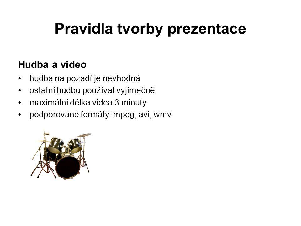 Pravidla tvorby prezentace Hudba a video hudba na pozadí je nevhodná ostatní hudbu používat vyjímečně maximální délka videa 3 minuty podporované formá