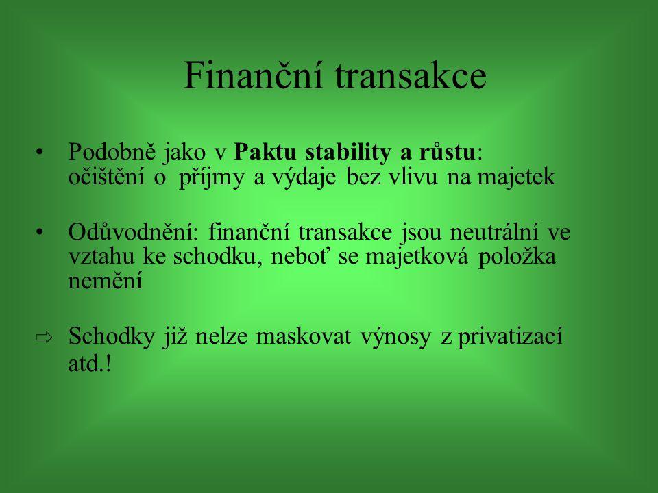 Podobně jako v Paktu stability a růstu: očištění o příjmy a výdaje bez vlivu na majetek Odůvodnění: finanční transakce jsou neutrální ve vztahu ke schodku, neboť se majetková položka nemění ⇨ Schodky již nelze maskovat výnosy z privatizací atd..