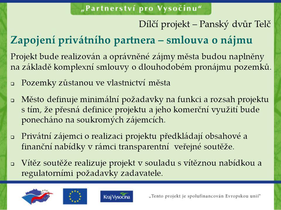 Zapojení privátního partnera – smlouva o nájmu  Pozemky zůstanou ve vlastnictví města  Město definuje minimální požadavky na funkci a rozsah projekt