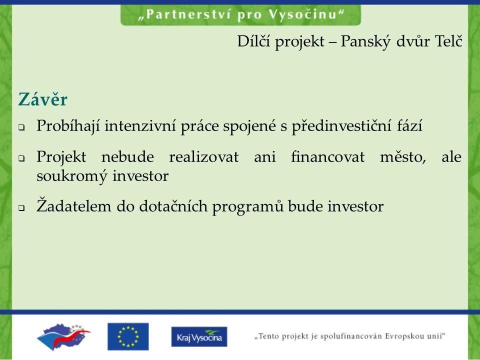 Závěr  Probíhají intenzivní práce spojené s předinvestiční fází  Projekt nebude realizovat ani financovat město, ale soukromý investor  Žadatelem d