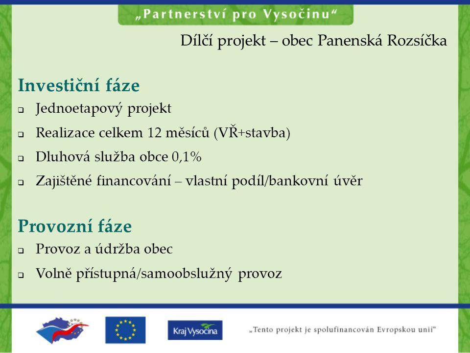 Provozní fáze  Provoz a údržba obec  Volně přístupná/samoobslužný provoz Investiční fáze  Jednoetapový projekt  Realizace celkem 12 měsíců (VŘ+sta