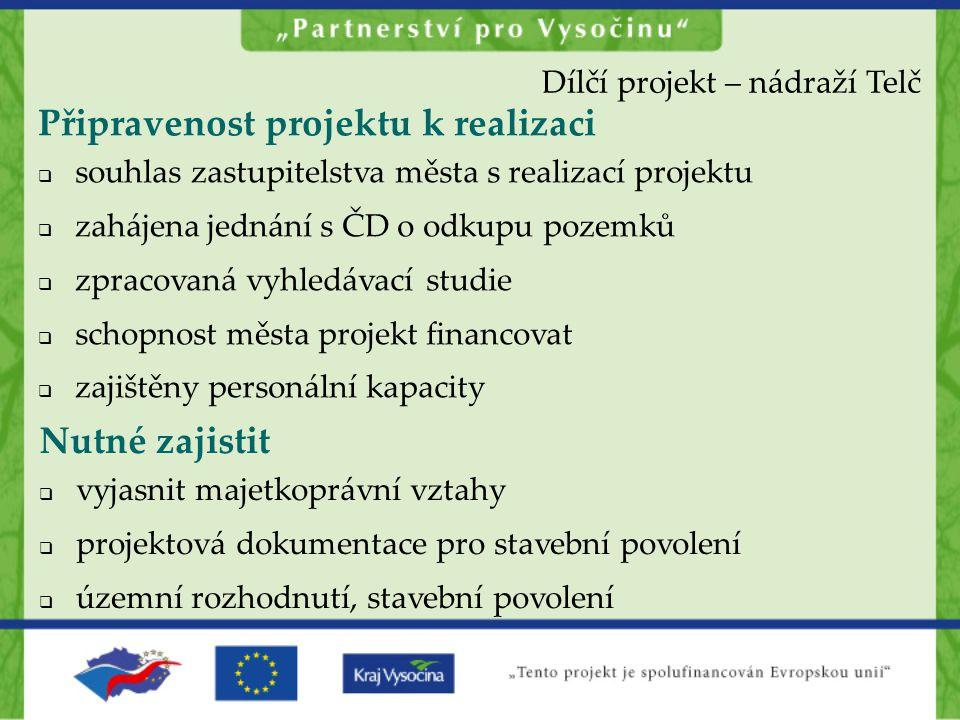 Připravenost projektu k realizaci  souhlas zastupitelstva města s realizací projektu  zahájena jednání s ČD o odkupu pozemků  zpracovaná vyhledávac