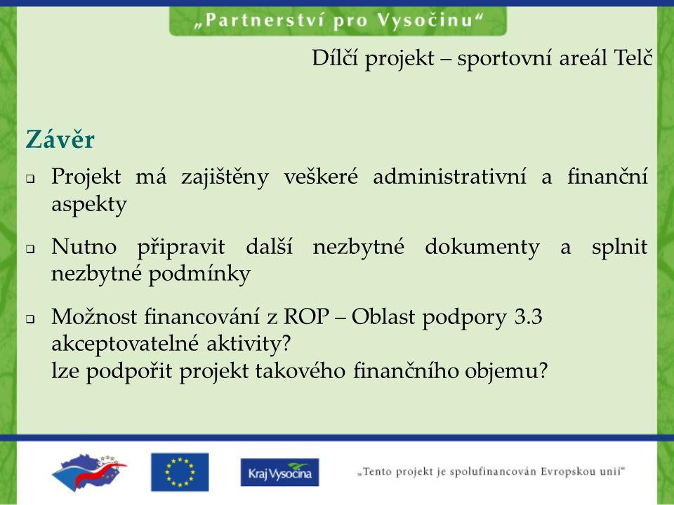Závěr  Projekt má zajištěny veškeré administrativní a finanční aspekty  Nutno připravit další nezbytné dokumenty a splnit nezbytné podmínky  Možnos