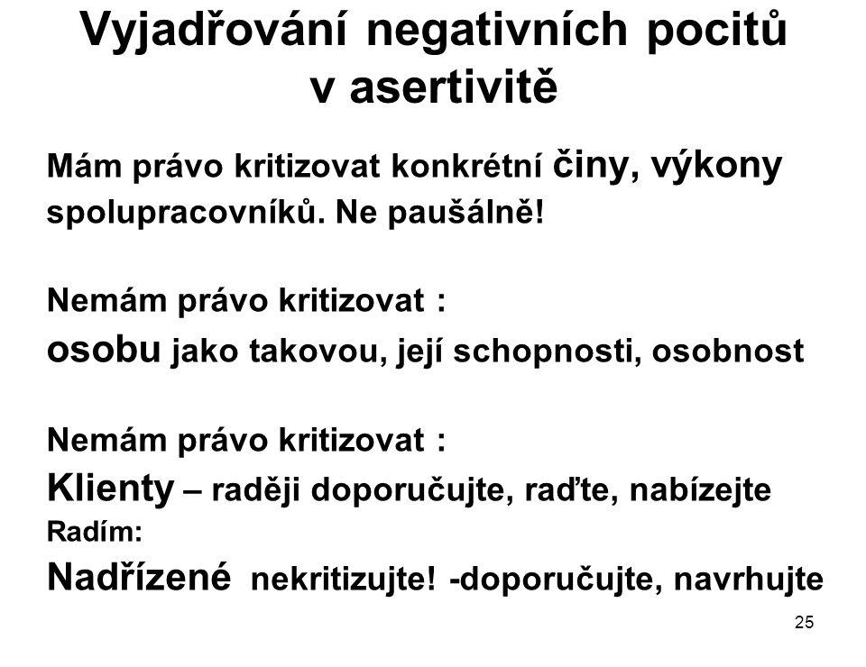 25 Vyjadřování negativních pocitů v asertivitě Mám právo kritizovat konkrétní činy, výkony spolupracovníků. Ne paušálně! Nemám právo kritizovat : osob