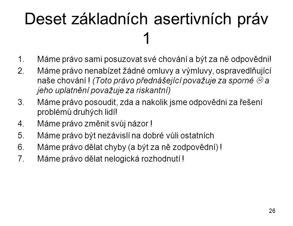"""27 Deset základních asertivních práv 2 8.Máme právo říci : """"Já nevím ."""