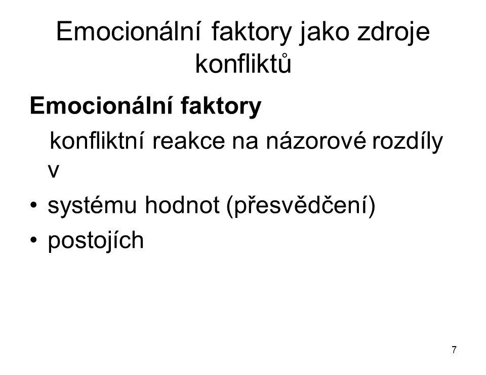 7 Emocionální faktory jako zdroje konfliktů Emocionální faktory konfliktní reakce na názorové rozdíly v systému hodnot (přesvědčení) postojích