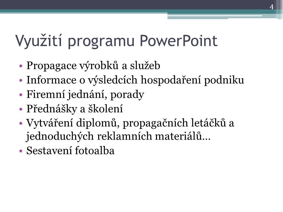 Využití programu PowerPoint Propagace výrobků a služeb Informace o výsledcích hospodaření podniku Firemní jednání, porady Přednášky a školení Vytvářen