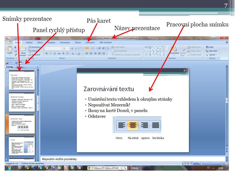 7 Snímky prezentace Panel rychlý přístup Pás karet Název prezentace Pracovní plocha snímku