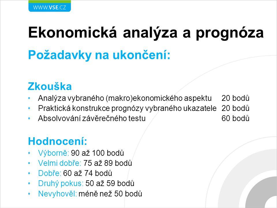 Ekonomická analýza a prognóza Požadavky na ukončení: Zkouška Analýza vybraného (makro)ekonomického aspektu20 bodů Praktická konstrukce prognózy vybran