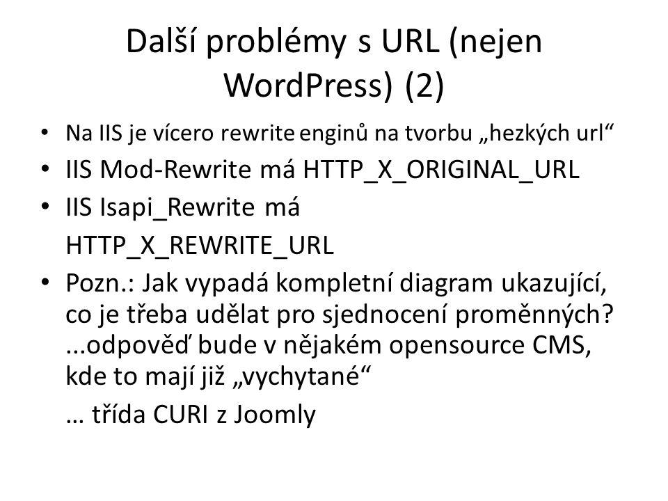 """Další problémy s URL (nejen WordPress) (2) Na IIS je vícero rewrite enginů na tvorbu """"hezkých url IIS Mod-Rewrite má HTTP_X_ORIGINAL_URL IIS Isapi_Rewrite má HTTP_X_REWRITE_URL Pozn.: Jak vypadá kompletní diagram ukazující, co je třeba udělat pro sjednocení proměnných ...odpověď bude v nějakém opensource CMS, kde to mají již """"vychytané … třída CURI z Joomly"""