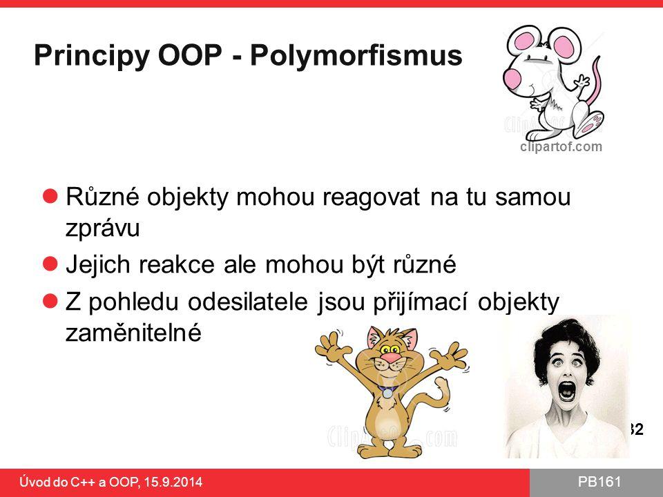 PB161 Principy OOP - Polymorfismus Různé objekty mohou reagovat na tu samou zprávu Jejich reakce ale mohou být různé Z pohledu odesilatele jsou přijím
