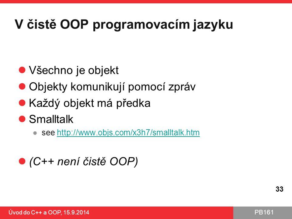 PB161 V čistě OOP programovacím jazyku Všechno je objekt Objekty komunikují pomocí zpráv Každý objekt má předka Smalltalk ●see http://www.objs.com/x3h
