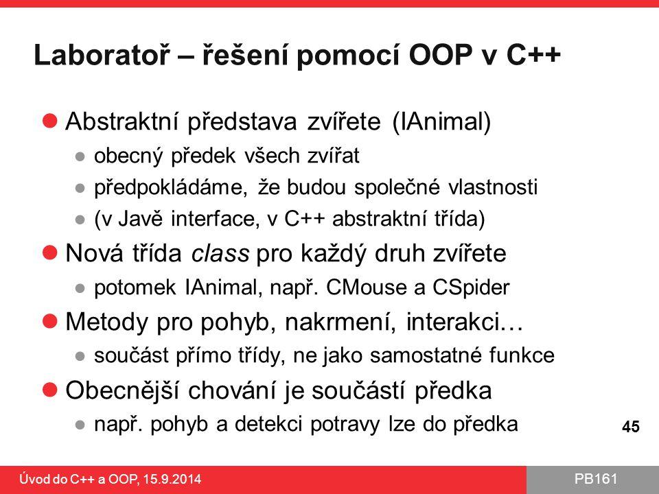 PB161 Laboratoř – řešení pomocí OOP v C++ Abstraktní představa zvířete (IAnimal) ●obecný předek všech zvířat ●předpokládáme, že budou společné vlastno