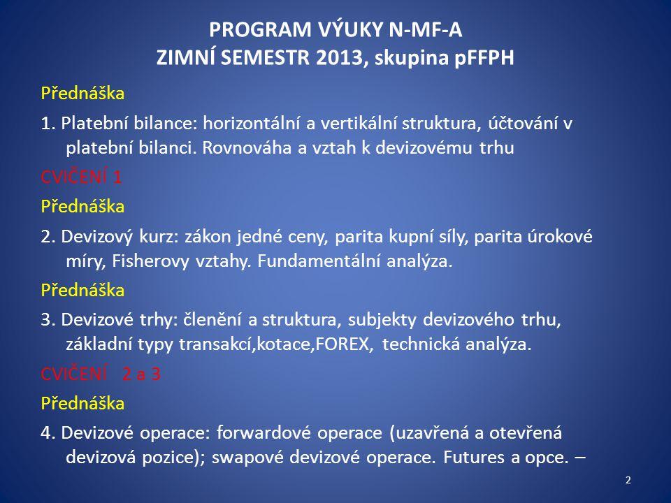 PROGRAM VÝUKY N-MF-A ZIMNÍ SEMESTR 2013, skupina pFFPH Přednáška 1. Platební bilance: horizontální a vertikální struktura, účtování v platební bilanci