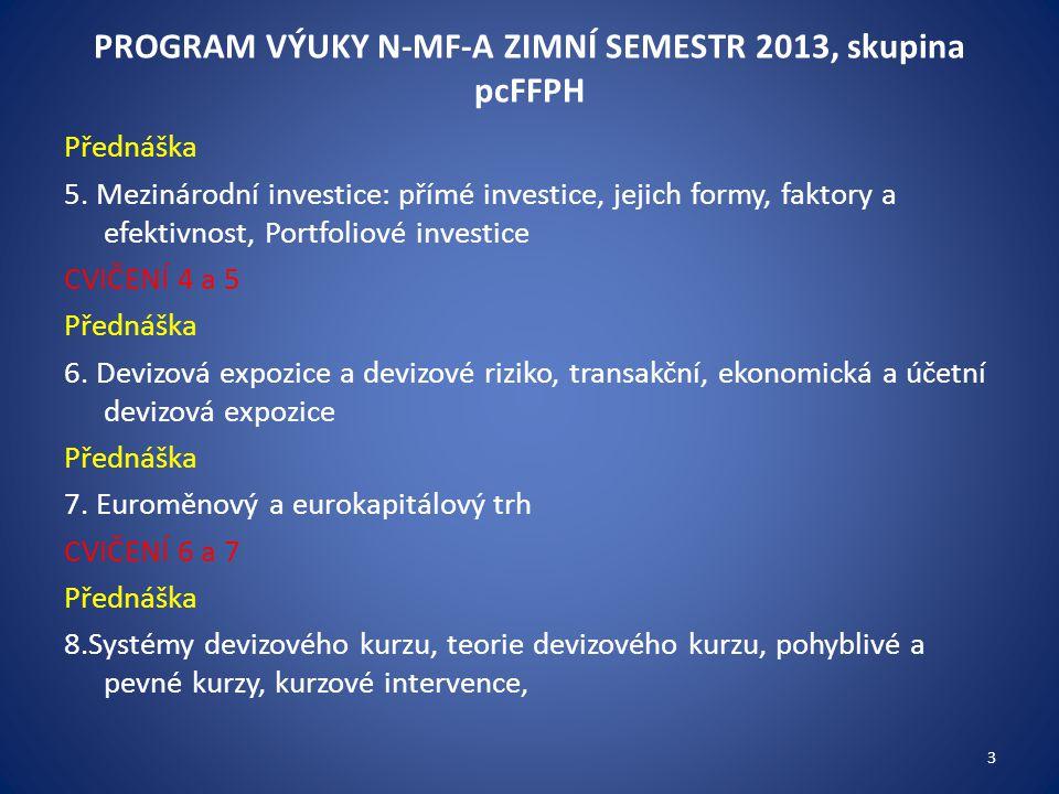 PROGRAM VÝUKY N-MF-A ZIMNÍ SEMESTR 2013, skupina pcFFPH Přednáška 5. Mezinárodní investice: přímé investice, jejich formy, faktory a efektivnost, Port