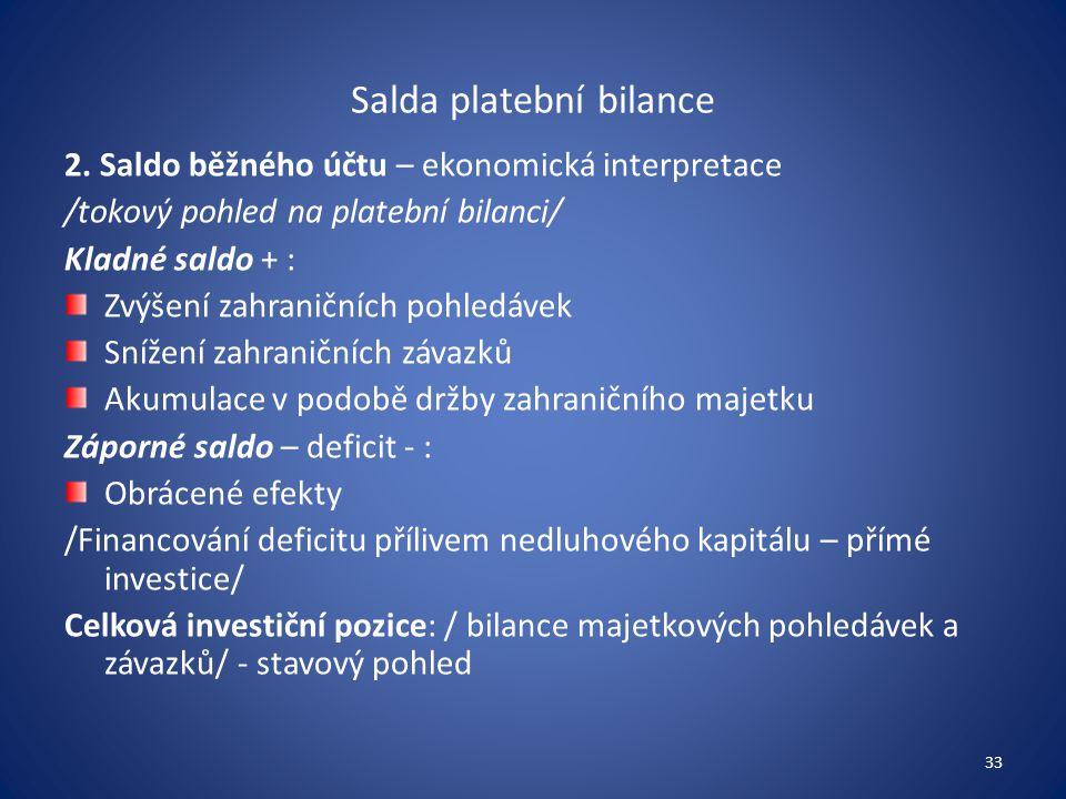 Salda platební bilance 2. Saldo běžného účtu – ekonomická interpretace /tokový pohled na platební bilanci/ Kladné saldo + : Zvýšení zahraničních pohle