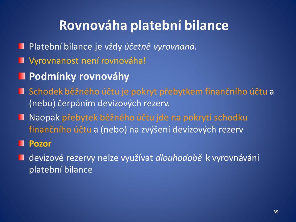 Rovnováha platební bilance Platební bilance je vždy účetně vyrovnaná. Vyrovnanost není rovnováha! Podmínky rovnováhy Schodek běžného účtu je pokryt př
